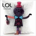Articulated Tom Tightrope Purple Cat Brooch LOL Bijoux , Enamel cat broche