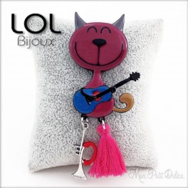 TomGuy Pink Cat Brooch LOL Bijoux , Enamel cat brooch emaux chat broche