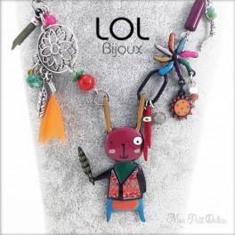 Collar Conejo Navajo Rosa LOL Bijoux, conejito de esmalte lolilota Emaux lapin collier lolilota