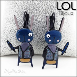 Blue Navajo Bunny LOL Bijoux Earrings , Enamel Lever Back Earrings lolilota
