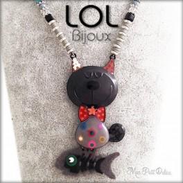 Collar Gato Gris Tomart LOL Bijoux, gato de esmalte lolilota