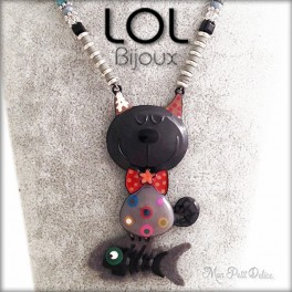 Tomart Grey Cat LOL Bijoux Necklace, Enamel Cat Necklace lolilota