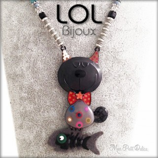 Tomart Grey Cat LOL Bijoux Necklace, Enamel Cat Necklace lolilota chat collier