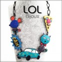 Cat Pop Art Car LOL Bijoux Necklace, Enamel Cat Necklace lolilota