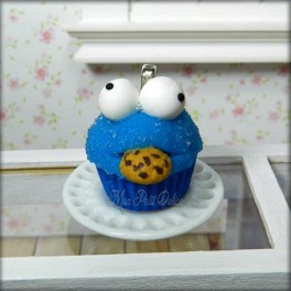 Cookie Monster Cupcake Necklace, Pendant