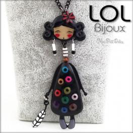 Les Pépettes - Large Doll Enamel Necklace Black Indide, lol bijoux lolilota emaux poupee sautoir