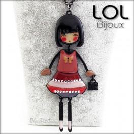 Les Pépettes - Large Doll Enamel Necklace Red Lolita, lol bijoux lolilota emaux poupee sautoir