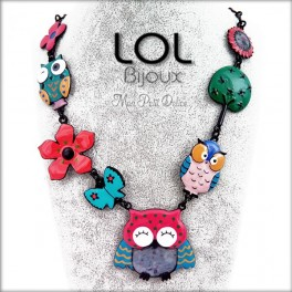 Pink Little Owl LOL Bijoux Necklace, Enamel Owl Necklace lolilota collier emaux chouette