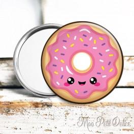 Espejo de Bolsillo Donut Kawaii Rosa