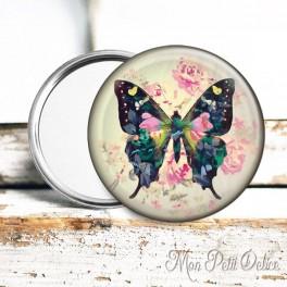 Espejo de Bolsillo Colorida Mariposa Floral Vintage