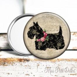 Espejo de Bolsillo Perro Terrier Escoces Floral Vintage