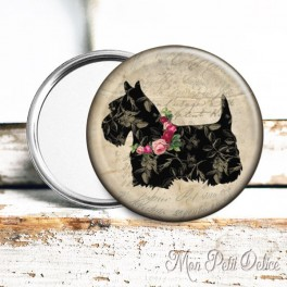 espejo-bolsillo-perro-scottish-terrier-escoces-floral-pocket-mirror-button-badge-dog