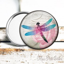 espejo-bolsillo-libelula-rosa-vintage-pocket-mirror-button-badge-pink-dragonfly