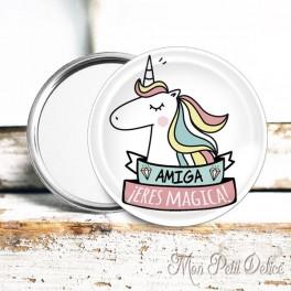 Espejo de Bolsillo Unicornio Amiga eres Magica