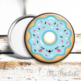 Espejo de Bolsillo Donut Kawaii Azul