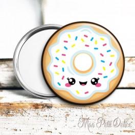 Espejo de Bolsillo Donut Kawaii Blanco