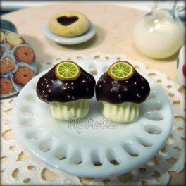 Chocolate Cupcakes with Orange Earrings