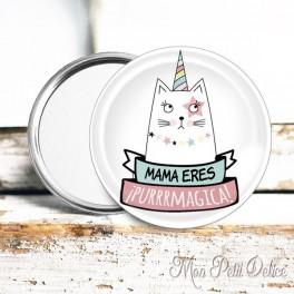 Espejo de Bolsillo Gato Unicornio Mama