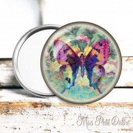 Espejo de Bolsillo Colorida Mariposa Vintage