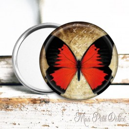 espejo-chapa-bolsillo-mariposa-roja-vintage-pocket-mirror-button-badge-red-butterfly