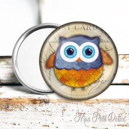espejo-chapa-bolsillo-buho-buo-marron-vintage-pocket-mirror-button-badge-owl
