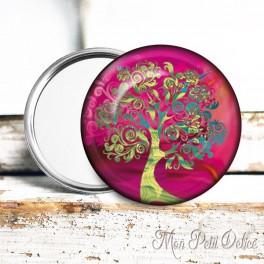 Espejo Chapa de Bolsillo Arbol de la Vida Rosa