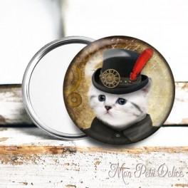 Espejo de Bolsillo Chapa Gato Steampunk 6