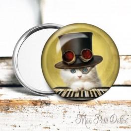 Espejo de Bolsillo Chapa Gato Steampunk 5