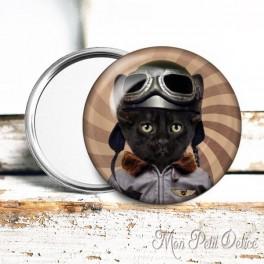 Espejo de Bolsillo Chapa Gato Steampunk 4