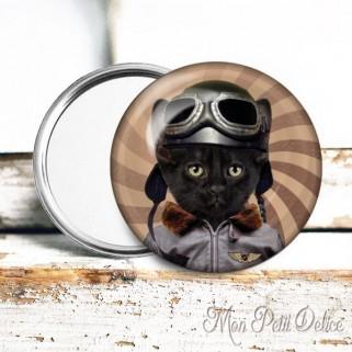 Button Pocket Mirror Steampunk Cat Kitten Badge