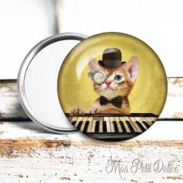 Espejo de Bolsillo Chapa Gato Steampunk 3