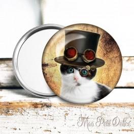 Espejo de Bolsillo Chapa Gato Steampunk 2
