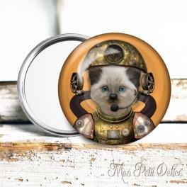 Espejo de Bolsillo Chapa Gato Steampunk