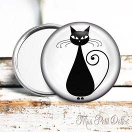espejo-chapa-bolsillo-gato-negro-pocket-mirror-button-badge-black-cat