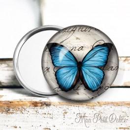 Espejo de Bolsillo Mariposa Azul