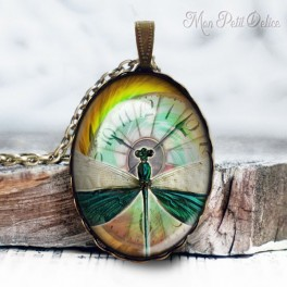 collar-colgante-libelula-steampunk-verde-vintage-cabuchon-cristal-necklace-pendant-green-dragonfly-bronze-cabochon-glass