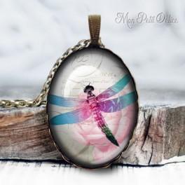 collar-colgante-libelula-rosa-vintage-cabuchon-cristal-necklace-pendant-pink-dragonfly-bronze-cabochon-glass