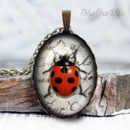 collar-colgante-mariquita-vintage-cabuchon-cristal-necklace-pendant-ladybug-bronze-cabochon-glass