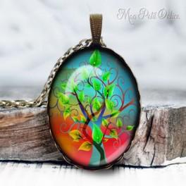 collar-colgante-arbol-fantasia-de-la-vida--vintage-cabuchon-cristal-necklace-pendant-tree-life-whimsical-bronze-cabochon-glass