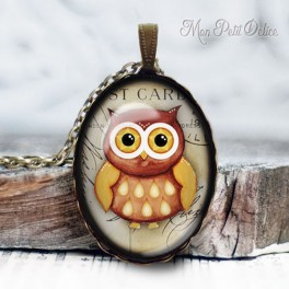 collar-colgante-buho-buo-marron-vintage-cabuchon-cristal-necklace-pendant-brown-owl-bronze-cabochon-glass