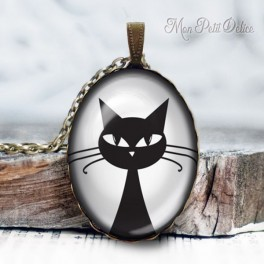 collar-colgante-gato-negro-vintage-cabuchon-cristal-necklace-pendant-black-cat-bronze-cabochon-cameo-glass