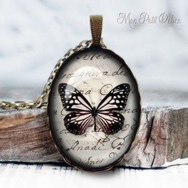 collar-colgante-mariposa-blanco-negro-vintage-cabuchon-cristal-necklace-pendant-buterrfly-black-white-bronze-cabochon-glass