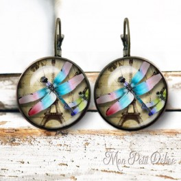 pendientes-vintage-libelula-paris-cabuchon-cristal-bronce-cierre-catalan-earrings-vintage-dragonfly-lever-back-cabochon-glass