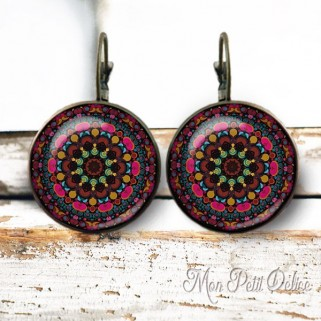 pendientes-vintage-mandala-rojo-cabuchon-cristal-bronce-cierre-catalan-earrings-vintage-red-mandala-lever-back-cabochon-glass