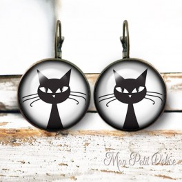 Dangle Round Black Cat Lever Back Earrings