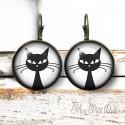 Round Black & White Tree Of Life Vintage Earrings