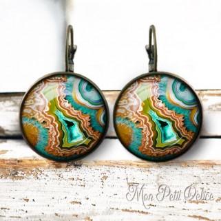 pendientes-vintage-agata-mineral-cabuchon-cristal-bronce-cierre-catalan-earrings-vintage-agate-gems-lever-back-cabochon-glass