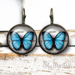 Pendientes Largos Redondos Con Mariposa Azul