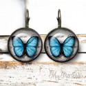 Dangle Round Blue Butterflies Lever Back Earrings