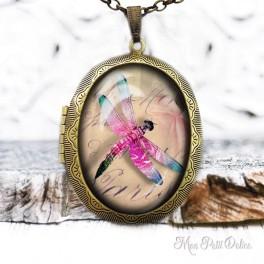 Camafeo-portafoto-vintage-libelula-rosa-cabuchon-cristal-photo-locket-pink-dragonfly-cabochon-glass-tile-bronze